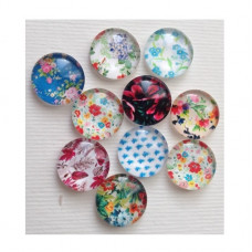 Набор стеклянных кабошонов Цветочное настроение, 10 шт, размер 12 мм