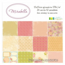 "Набор бумаги 15х15 см  ""Mirabella"", 24 листа, 170г/м2 от ScrapStudio"