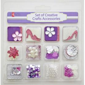 Набор декоративных украшений для скрапбукинга, 12шт/уп, фиолетовый от Santi