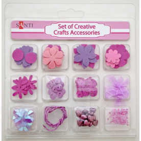 Набор декоративных украшений для скрапбукинга, 12шт/уп, розовый от Santi