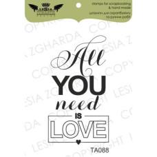 """Акриловый штамп """"ALL YOU NEED IS LOVE"""", 2,7*4,9 см от Lesia Zgharda"""