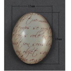 Кабошон Текст бежевого цвета, овальный, размер 13х18 мм