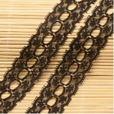 Кружевная лента, цвет черный, 26 мм , 90 см