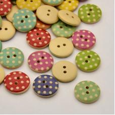 Набор разноцветных пуговиц в горошек, 5 шт, 18 мм
