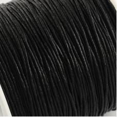 Вощенный шнур черный, 84 м , толщина 1 мм