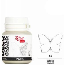 Акрил для декора, 72 Белый, перламутр, 20 мл, ROSA TALENT