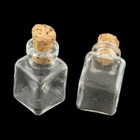 Декоративная стеклянная бутылочка с пробкой, 25*14*14 мм, 1 шт