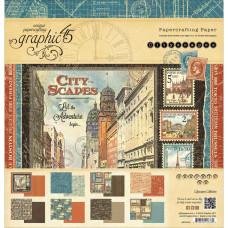 Набор бумаги Cityscapes 8 листов, 30*30 см от Graphic 45