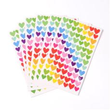 "Набор наклеек ""Сердечки"", разноцветные, размер листа 15*10 см"