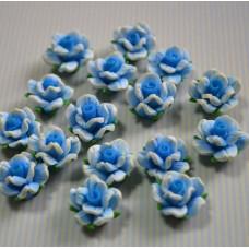 Кабошон Розочка из полимерной глины , цвет голубой, размер 20 мм