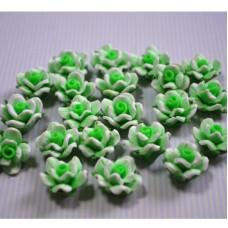 Кабошон Розочка из полимерной глины , цвет зеленый, размер 20 мм