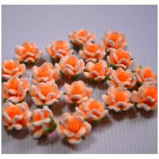 Кабошон Розочка из полимерной глины , цвет оранжевый, размер 20 мм