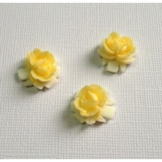 Кабошон цветок двухцветный, размер 16,5*16 мм, цвет бело-желтый, 1 шт