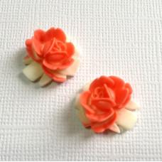 Кабошон цветок двухцветный, размер 16,5*16 мм, цвет кораллово-белый, 1 шт