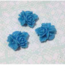Кабошон Букетик цветов, голубой, 1 шт, размер 16 мм