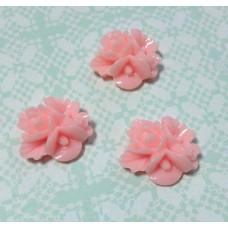 Кабошон Букетик цветов, розовый, 1 шт, размер 16 мм