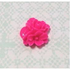 Кабошон Букетик цветов, ярко-розовый, 1 шт , размер 16 мм