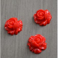 Кабошон пластиковый Роза, 16*9 мм , 1 шт , цвет красный