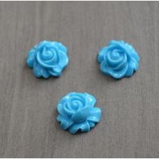 Кабошон пластиковый Роза, 16*9 мм , 1 шт , цвет голубой