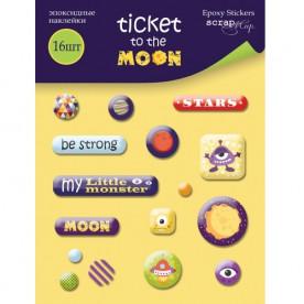 Набор эпоксидных наклеек Ticket to the Moon 16 шт от Scrapmir