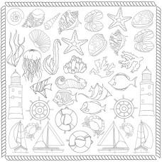 Лист для для раскра- шивания аква чернилами Sea Breeze  30,5x30,5см Фабрика Декора