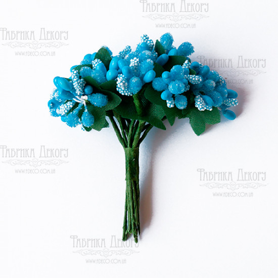 Набор декоративных веточек, ярко-голубые, 12 шт от Фабрика Декора