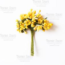 Набор декоративных веточек, желтые, 12 шт от Фабрика Декора