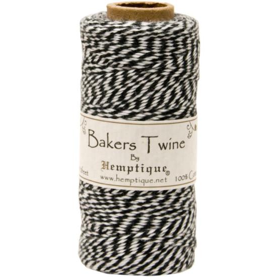 Двухслойный хлопковый шнур Baker's Twine, 1 м, черный, Hemptique