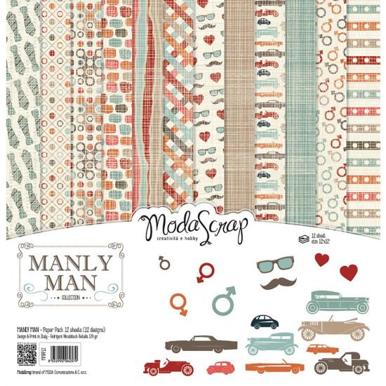 Набор бумаги для скрапбукинга Manly Man 30х30 12 листов ModaScrap