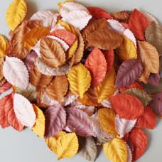 Набор листиков розы в осенних оранжевых тонах, без стебля, 10 шт., 40 мм.