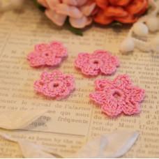 Вязаные цветы 4 шт, baby pink, 2-3 см