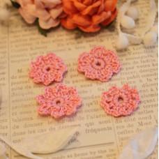Вязаные цветы 4 шт, розовый, 2-3 см