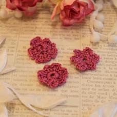 Вязаные цветы 3 шт, маджента, 2-3 см