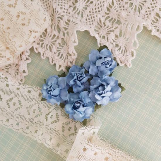 Набор декоративных розочек голубого цвета, 5 шт, 25 мм