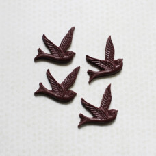 Кабошон Птичка 26х28 мм, бордовый, 1 шт.