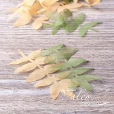 Декоративные тканевые веточки 8*4см 10шт кофейного и зеленого цвета