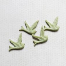 Кабошон Птичка 26х28 мм, бледно-зеленый, 1 шт.