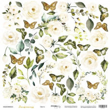 Лист односторонней бумаги для вырезания 30x30 Цветы Tenderness Scrapmir