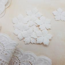 Набор цветов пуансетии, белый, 5 шт, 35 мм