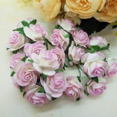 Набор розочек 25 мм, бело-розовый, 5 шт.