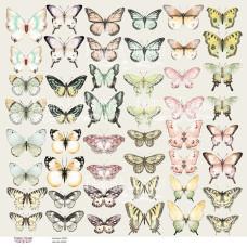 Лист с картинками для вырезания Бабочки, Фабрика Декору