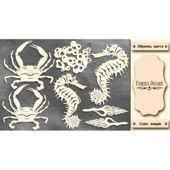 Набор чипбордов Морские обитатели, молочный, Фабрика Декору