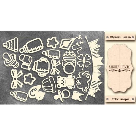 Набор чипбордов Мамины сокровища - Элементы #329, молочный, Фабрика Декору