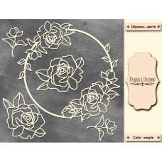Мегачипборд Круглая рамка с розами #006, 30х30, Фабрика Декору