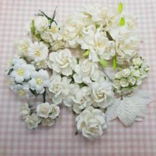 Большой набор цветов Свадебный, 59 шт., цвет белый