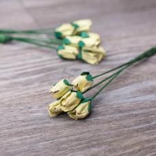 Декоративные бумажные цветы Бутоны роз 13мм 5шт цвет фисташковый 2898 Valeo