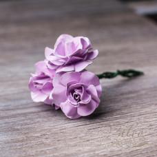 Декоративные бумажные цветы Розы 30мм 3шт цвет розовый 2825 Valeo