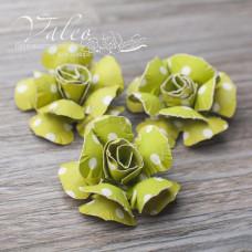 Декоративные бумажные Розы 40*40мм 3шт цвет зеленый в белый горох 2946 Valeo