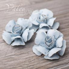 Декоративные бумажные Розы 40*40мм 3шт цвет голубой в синий горох 2948 Valeo