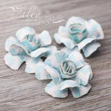 Декоративные бумажные Розы 40*40мм 3шт цвет голубой зигзаг 2949 Valeo